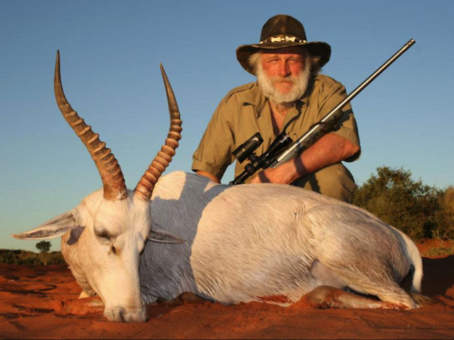 Tom Cruickshank with White Blesbuck in Namibia 2012